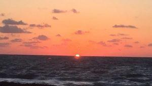 Beautiful sunset in Florida with sun on horizon
