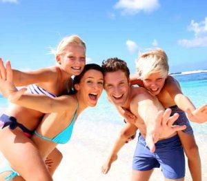 Happy vacation travelers